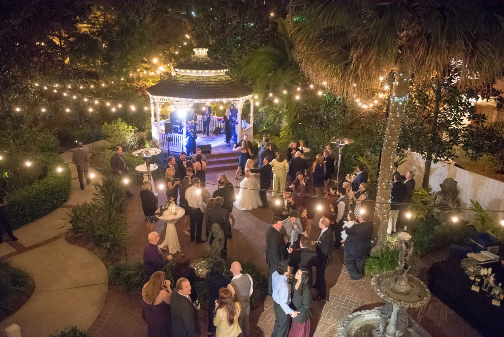 Open Dancing The Bay Kings Band | The Courtyard at Lake Lucerne Classic Purple & Orange Wedding Football Texas Longhorns Sports Lake Lucerne Courtyard Anna Christine Events Orlando Kathy Thomas Photography