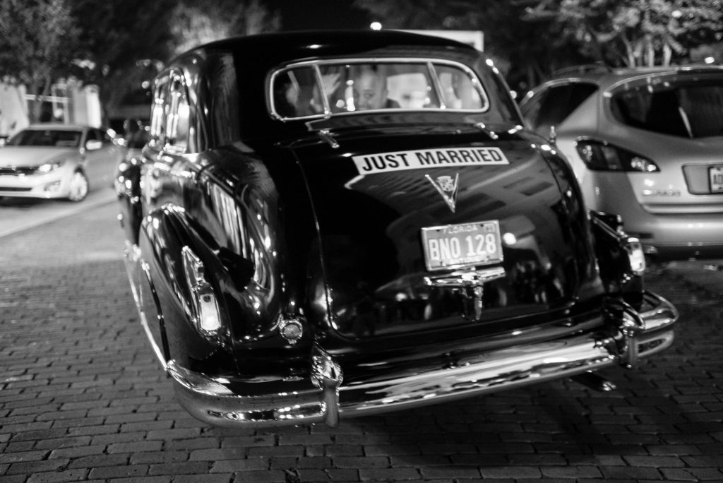 Just Married Getaway Car Southern Limousine | Blue & White Glamorous Wedding The Abbey The Mezz Anna Christine Events Kathy Thomas Photography