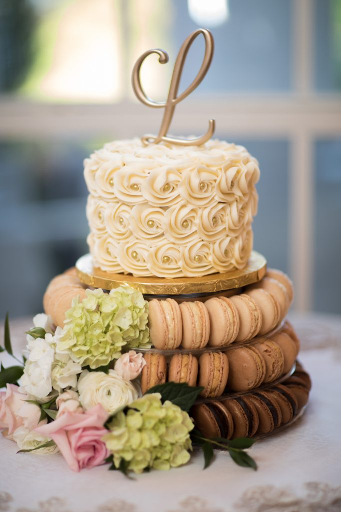 Cake Macarons Roses Sweet by Holly | Travel Inspired Themed Glamorous Gold & White Wedding Luxmore Grande Estate Anna Christine Events Justin DeMutiis Photography