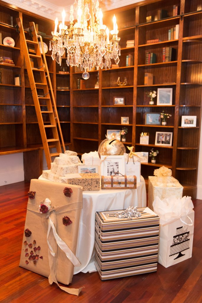 Gift & Card Table in Library Chandelier | Travel Inspired Themed Glamorous Gold & White Wedding Luxmore Grande Estate Anna Christine Events Justin DeMutiis Photography