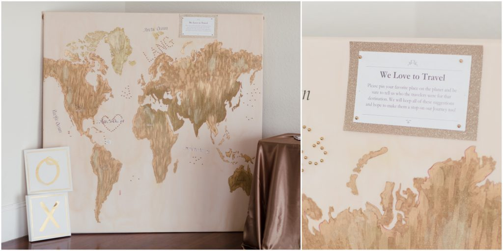 Guestbook Map to Sign Love Travel | Travel Inspired Themed Glamorous Gold & White Wedding Luxmore Grande Estate Anna Christine Events Justin DeMutiis Photography