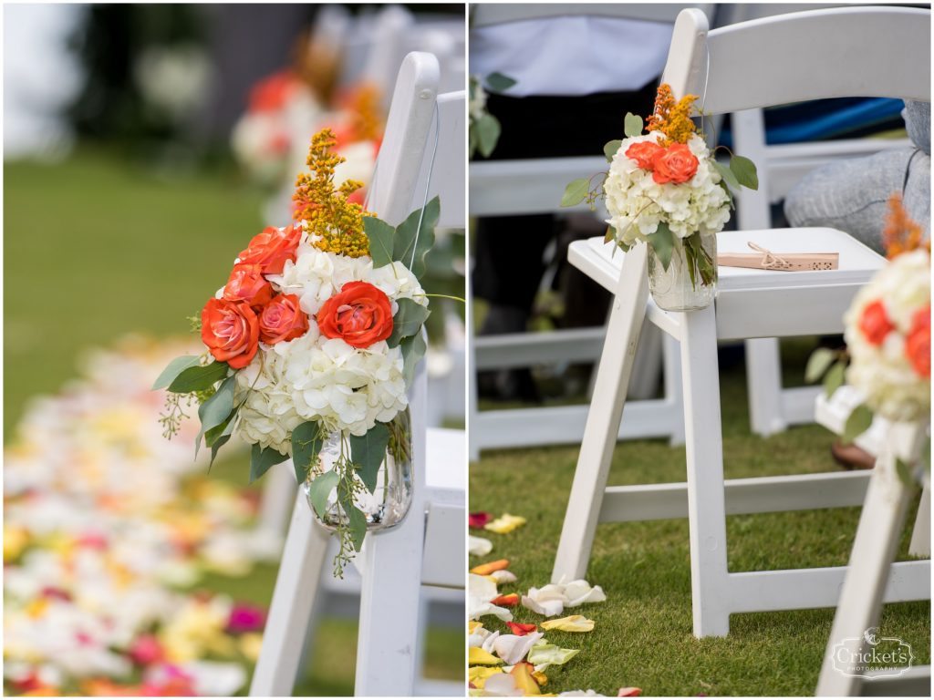 Flowers Floral Decorations Ceremony Claudia's Pearl Florist Chairs | Travel Themed Inspired Wedding Mission Inn Resort Orlando Florida Anna Christine Events Cricket's Photo & Cinema