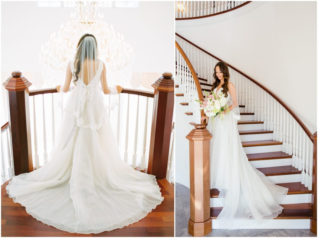 Bride Stairs Shot | Travel Inspired Themed Glamorous Gold & White Wedding Luxmore Grande Estate Anna Christine Events Justin DeMutiis Photography