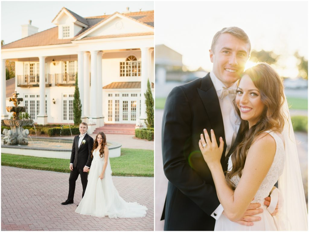Bride & Groom Outside Venue First Look Photo Shoot | Travel Inspired Themed Glamorous Gold & White Wedding Luxmore Grande Estate Anna Christine Events Justin DeMutiis Photography