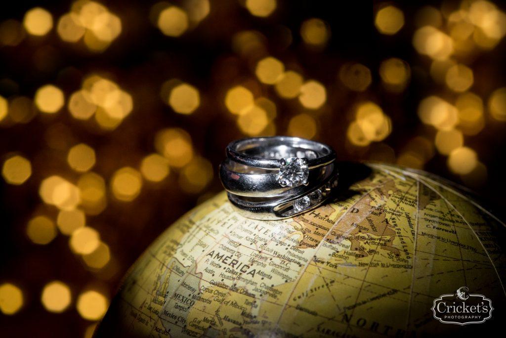 Wedding Rings Engagement Ring on Globe | Travel Themed Inspired Wedding Mission Inn Resort Orlando Florida Anna Christine Events Cricket's Photo & Cinema