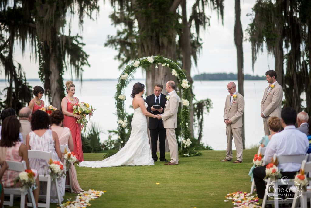 Bride & Groom at Arbor Ceremony | Travel Themed Inspired Wedding Mission Inn Resort Orlando Florida Anna Christine Events Cricket's Photo & Cinema
