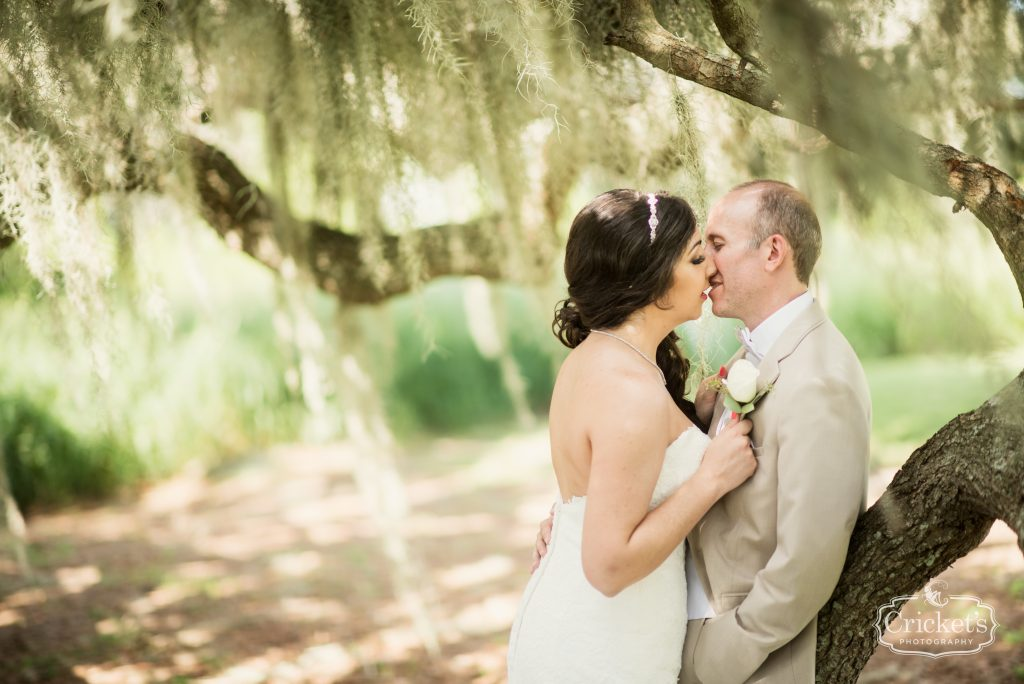 Bride & Groom Kissing Trees Photo Shoot | Travel Themed Inspired Wedding Mission Inn Resort Orlando Florida Anna Christine Events Cricket's Photo & Cinema