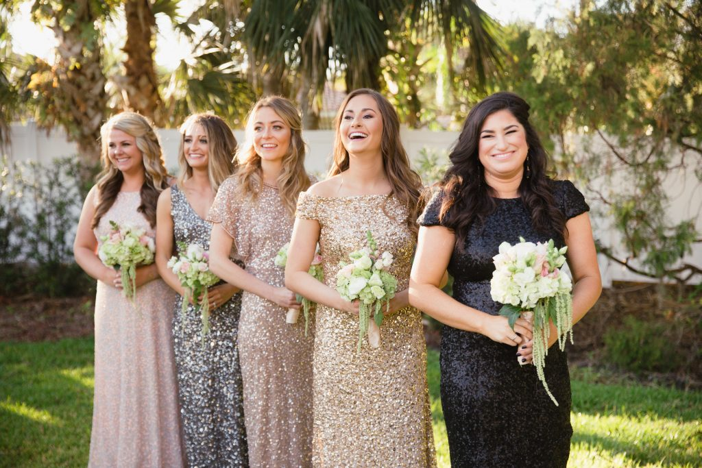 Bridesmaids at Altar Arbor | Travel Inspired Themed Glamorous Gold & White Wedding Luxmore Grande Estate Anna Christine Events Justin DeMutiis Photography