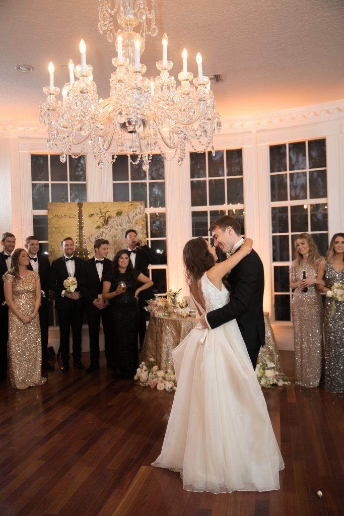 Bride & Groom First Dance | Travel Inspired Themed Glamorous Gold & White Wedding Luxmore Grande Estate Anna Christine Events Justin DeMutiis Photography
