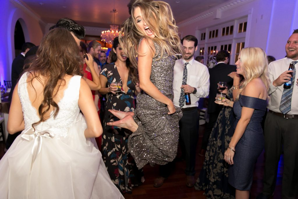 Open Dancing Bridesmaid Jump | Travel Inspired Themed Glamorous Gold & White Wedding Luxmore Grande Estate Anna Christine Events Justin DeMutiis Photography