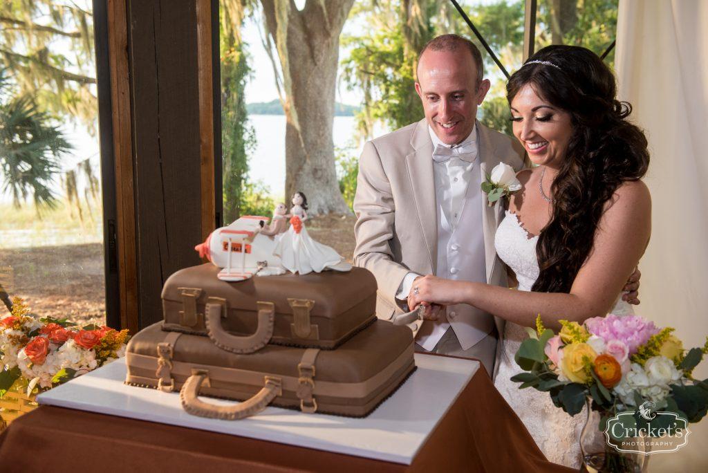 Cutting the Cake Suitcases | Travel Themed Inspired Wedding Mission Inn Resort Orlando Florida Anna Christine Events Cricket's Photo & Cinema